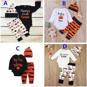 2017 INS Newborn Infant Toddlers zucca di Halloween di Natale Outfits infantile delle ragazze dei neonati a maniche lunghe romper + Pants + Set Hat 3Pcs