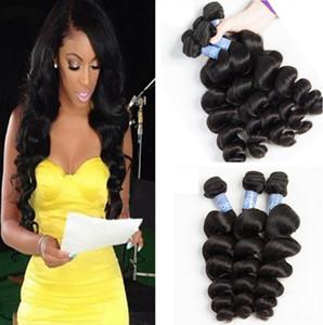 Peruana solto Ondas do cabelo humano trama do cabelo Weave extensões Natural Color Dyeable bleachable não transformados Gali rainha produtos de cabelo 3pcs lot /