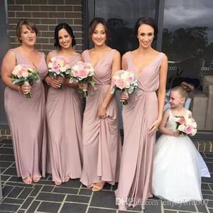 2017 elegante Dusty Pink Lange Brautjungfer Kleider V-ausschnitt Rüschen Drapierte Geraffte Trauzeugin Kleid Land Party Kleider