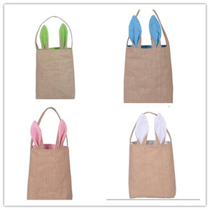 DHL Free Newest 5 Colors Fine Design Easter Bunny Ears Handbag Jute Cloth Material Easter Gift Packing For Child Fine Festival Gift