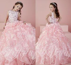 Más nuevo 2021 Pink Girls Pageant Dresses Sheer Crew Cuello con cuentas Cristales Rhinstone Ball Vestido Princesa Niños Vestidos formales para niñas