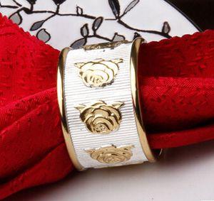 En gros-2016 nouvelle usine Livraison gratuite Silver Gold Peal Rideau Alliage Napkin Rings Pour Banquet Mariage Livraison gratuite