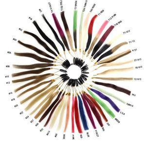 100% Cheveux humains COULEUR D'ANNEAU DE COULEUR TABLEAU DES COULEURS pour extensions de cheveux 34 couleurs différentes avec couleur ombre