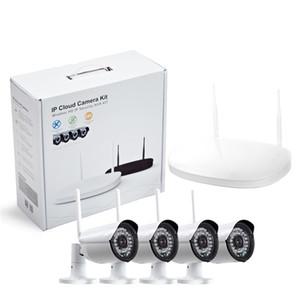 CCTV камеры IP Беспроводной Wi-Fi 4CH открытый HD 720P NVR системы 4шт 1MP ИК открытый P2P IP-камеры системы безопасности видеонаблюдения комплект