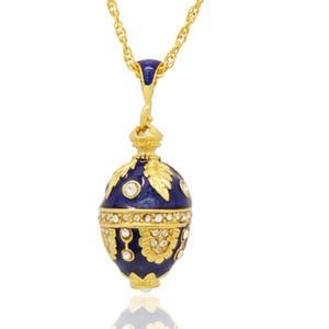 hand color enamel elegant egg shape pendant multiple crystal paved charm necklace Faberge Egg Pendant for Easter day