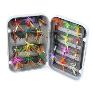 Palo de rosa 24pcs señuelo de pesca con mosca seca con caja trucha artificial carpa bajo Mariposa Cebo de insectos señuelos de pesca con mosca de agua salada de agua dulce