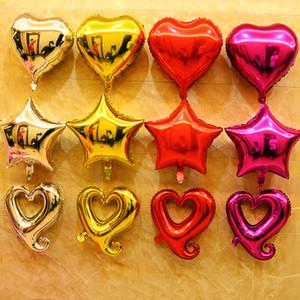 Balões de casamento românticos Balões de revestimento de alumínio Festival Brithday Party Anniversary Suprimentos baratos Coração e estrela decoração de balão 50 pcs