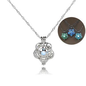 3 * FARBE Mode Frauen Blume Käfig Charme Leuchtende Stein Halsketten Anhänger Mode Großhandel Schmuck Aussage Halskette