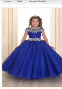 Nouvelle Arrivée Sur Mesure Enfants BleuTulle Robe De Bal Fille De Fleur Robes Robes Avec Perles Robes D'enfants 2016
