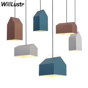 Nordic house lampe suspension en métal Europe du Nord design moderne accueil salle à manger lumière suspension lumières rose bleu blanc couleur lumière minimaliste