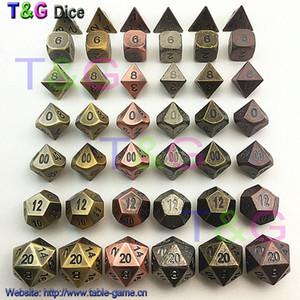 En gros-TOP qualité 2016 New Metalic 7 Dice set d4 d6 d8 d10 d% d12 d20 pour les jeux de société Rpg Dados jogos dnd pour homme cadeau spécial