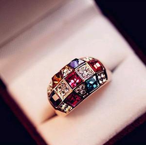 Роскошные ювелирные изделия австрийский хрусталь драгоценные камни кольца смешанный цвет красочный канал установка кольцо для мужчин женщин низкие цены