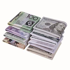 Moda Tasarımı ! Unisex Para Para Baskı Cüzdan ABD Doları Pound Yen Bill Desen Çanta Bifold Kredi Kart Sahibi Kadınlar Man Ücretsiz Kargo