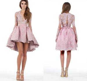 Rosa Custom Made Uma Linha De Mangas Compridas Alta Baixa Cocktail Dresses Applique Mergulhando Homecoming Vestidos de Baile Curto Mini Vestido