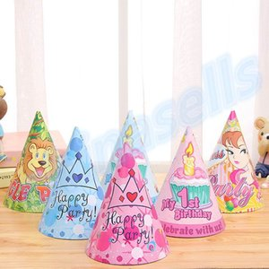 baby kit princess birthday party hat chlid 1st decoration paper cap cartoon pattern festival crown birthday