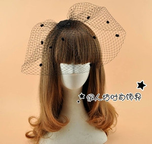 Noir Rétro Audrey Hepburn Accessoires De Cheveux De Mariée Cage À Oiseaux Joli Mariage Noce Veil Dot Accessoires De Mariée En Gros