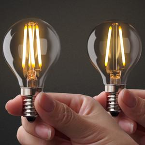 디 밍이 가능한 G45 투명 유리 2W 4W 에디슨 LED 필라멘트 전구 따뜻한 / 화이트 E12 E14베이스 램프 110V 220VAC 쿨