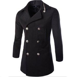 Fall-2016 Fashion Winter Hombre Chaquetas y abrigos Duffle Abrigo estilo estilo británico solo pecho al hombre Abrigo de guía de guía de lana.