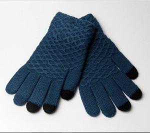 2017 nuevos guantes jacquard anti-mango de pantalla táctil de cinco dedos damas de invierno tejen guantes calientes fabricantes al por mayor