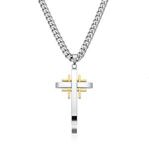 Collier en acier inoxydable pour homme Tic Tac Toe Croix Pendentif avec chaîne lourde Curb