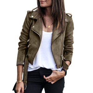 Kısa kış ceket kuşaklı paltoları Yeni 2020 Kadınlar Fermuar temel Süet Ceket Coat Casual Uzun Kollu motosiklet deri ceket Kadınlar