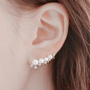 belle boucles d'oreilles bijoux de mode en gros cadeau aiguille d'argent simulé perle oreille manchette boucles d'oreilles pour les femmes bijoux