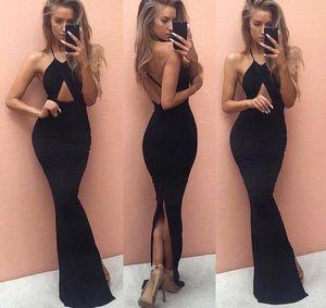 Sexy Black Straps Spaghetti sirena Split vestidos de noche 2017 Halter Neck Backless largo Prom Vestidos de fiesta formal Celebrity Dresses BA3559
