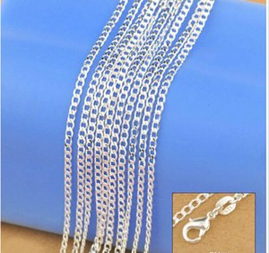 """Wholesale-Jewelry New 2016 Factory Sale 10PCS 16""""-30"""" Genuine Solid 925 Sterling Silver Fashion Curb Necklace Chain Jewelry with Lobster"""