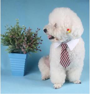 Eco-Friendly chien cravate rayée col de chat arc mignon de chien cravate de mariage chiot réglable Rouge / Bleu / Kaki