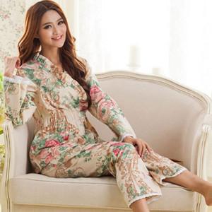 Großhandels- 2017 Frühling und Herbst Frauen langärmelige gewebte Baumwolle Pyjamas weibliche Modelle England Blumenspitze Anzug Trainingsanzug Specials