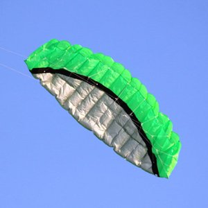 Details about Beginner Sports Green Power Dual Line Stunt Parafoil Parachute Beach Kite 2.5M