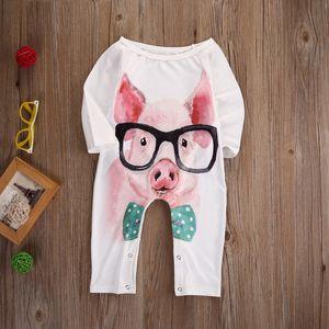 Bebek Kız Giysileri Butik Çocuk Giyim Domuz Desen Bebek Romper Takım Kızı Toddler Kıyafeti Çocuk Tulum Onesies Bodysuit