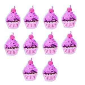 10 STÜCKE Pailletten Kuchen Stickerei Patches für Kleidung Taschen Eisen auf Übertragung Applique Pailletten Patch für Kleidungsstück DIY Nähen auf Stickerei abzeichen
