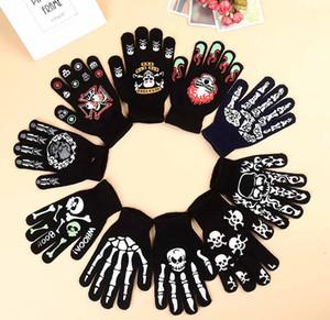 DHL Guantes de calaveras de navidad de punto Soft Five Fingers Gloves Fiesta de Halloween Cosplay Novedad Regalos de Navidad para adultos