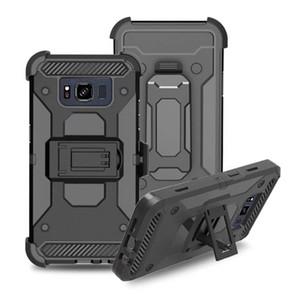 كفر مع مشبك حزام لاجهزة ايفون XR XS MAX X 8 7 6 Galaxy S10 S10e Plus J7 2018 Holster ضد الصدمات Hybrid Hard PC + TPU غطاء