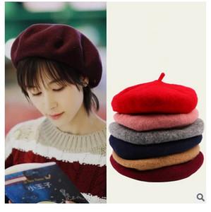 Japón lana BERET hembra invierno invierno pintor Hat Beret Hat pequeño marea de invierno coreana del todo-fósforo femenino