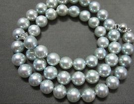 Rotondo all'ingrosso 9-10mm mare del sud Silver Grey Pearl Necklace 20inch S925 chiusura in argento