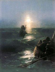 Seascape Christ Walking, spedizione gratuita, puro dipinto a mano Seascape Art pittura a olio su tela di qualsiasi dimensione personalizzata