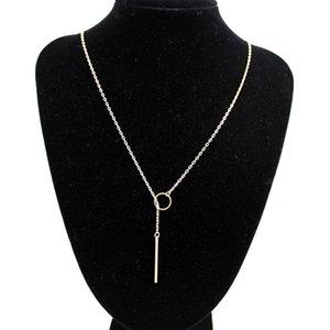 سيدة أنيقة المرأة دائرة ذهبية رقيق عصا قلادة قلادة سلسلة هدية لطيفة # R671