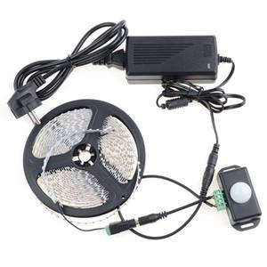 SMD 3528 120led / M branco quente branco flexível faixa de luz led + 12 ~ 24 V corpo humano sensores Controlador + 5A 60 W adaptador de alimentação