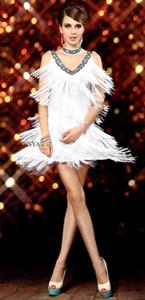 1920 s Seksi V Boyun Boncuklu Vintage Pullu Flapper Lady Gatsby Elbiseler Cadılar Bayramı Kostümleri Elbise Dans Giyim Saçak Püskül Balo