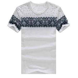 도매 - 2017 여름 새로운 T - 셔츠 남자의 탑스 티셔츠 빈티지 레트로 O - 넥 짧은 소매 티셔츠 남자 패션 트렌드 tshirt 플러스 크기