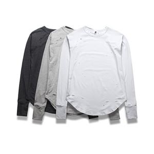 Ниндзя манжеты дизайн уничтожены длинными рукавами тройник мужские дуги снизу разорвал отверстия футболки