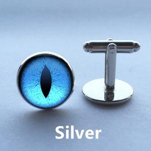 Glass Cufflink Handmade Blue Dragon Eye Dome Cabochon Quality Personality Witchcraft High BestSelling Cufflink Jewelry Gekff