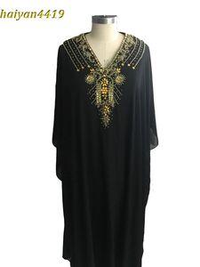 Новые дешевые Длинные Arabic Исламская одежда для женщин Абая в Дубае Кафтан мусульманская арабский Вечерние платья V шеи шифон Beads партии мантий выпускного вечера