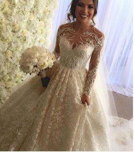 Vintage volle Spitze Brautkleider lange Ärmel Arabisch Dubai Brautkleider Perlen Perlen Rundhalsausschnitt Bedeckte Botton Zurück Gericht Zug