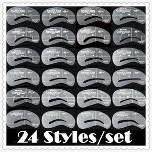 Kit classique de pochoirs pour sourcils 24 Styles Guide de dessin à sourcils réutilisables Guide de façonnage de carte Filetage de sourcils Outils de maquillage Sombrancelha