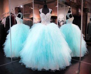 Leylak Boncuklu Kristal Balo Quinceanera elbise Sevgiliye Kabarık Tül Balo Gelinlik Modelleri Çarpıcı Lace Up Keyhole Geri Balo Abiye