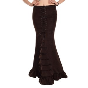 Vintage Victoria Etek Gotik Ruffled Steampunk Kadınlar Uzun Mermaid Korse Fishtail Etekler Kahverengi / Mavi / Siyah Yeni