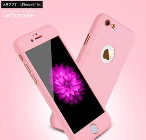 100pcs Top Selling 360 Degree CoverCase Full Hybrid Tempered Glass+Acrylic Hard Case Cover for iphone 7 7plus Mobile Phone Case